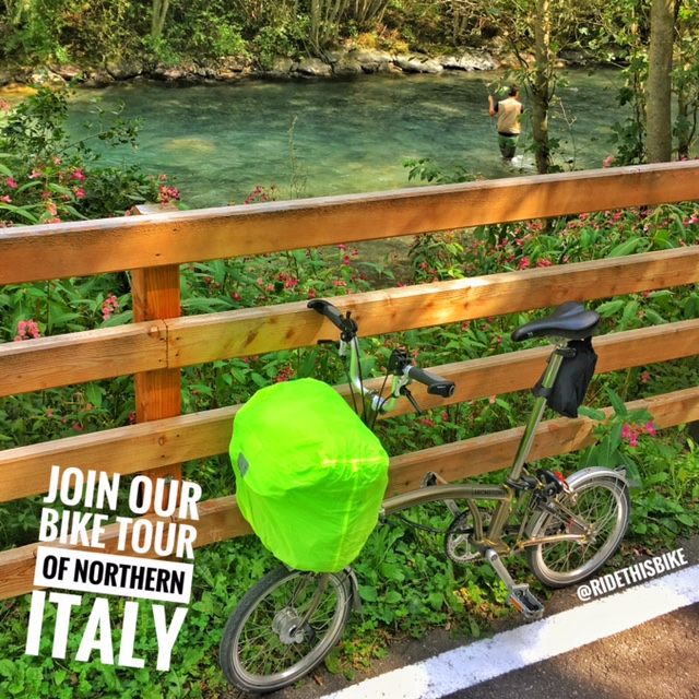 Touring on my Brompton folding bike in the Sugana Valley, Italy.
