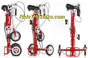 3 views of the CarryAll folding adult tricycle
