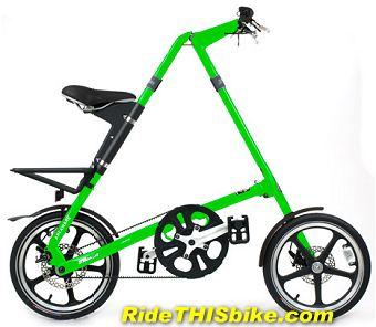 green Strida LT folding bike
