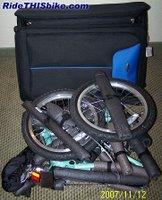 DownTube Mini folding bike and folding suitcase