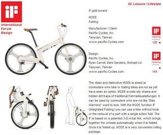iF award description for IF MODE folding bike