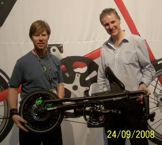 Larry Lagarde and Mark Sanders with a matt black Strida MAS Special signature edition