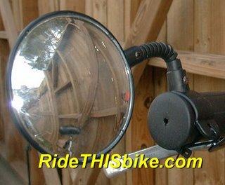flexible bike mirror mounted on a DownTube Mini