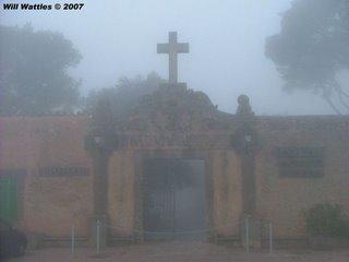 Foggy Santuari de Cura on top of Mt. Randa - Mallorca, Spain