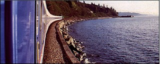 Amtrak route along Puget Sound