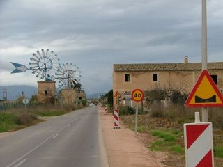 Roadside windmills - Palma, Mallorca, Spain