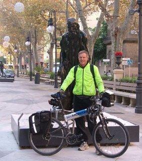 Will Wattles and his Montague MX next to Rodin statue - Palma, Mallorca