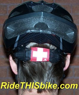 SafeTband mounted on bike helmet horizontal strap
