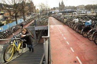 multi-level bike parking in Amsterdam