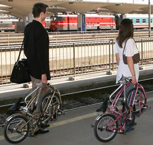 waiting to board the train with Bigfish folding bikes